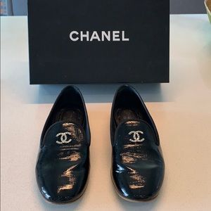 Authentic Chanel Black Patent Loafers- Sz 37.5
